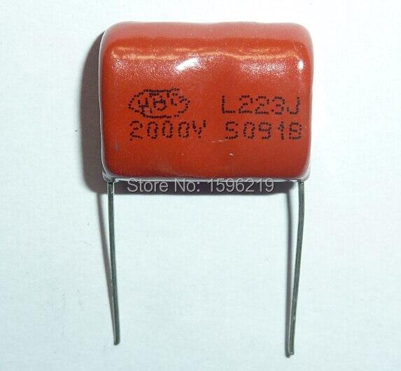 10pcs CBB Capacitor 223 2000V 223J 2KV 0.022uF 22nF P20 CBB81 Metallized Polypropylene Film Capacitor