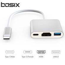 USB Тип-C HUB адаптер, 3-в-1 USB c концентратор к HDMI USB3.0 Тип-C Женский адаптер с зарядки и видео конвертер для новых mA c книги