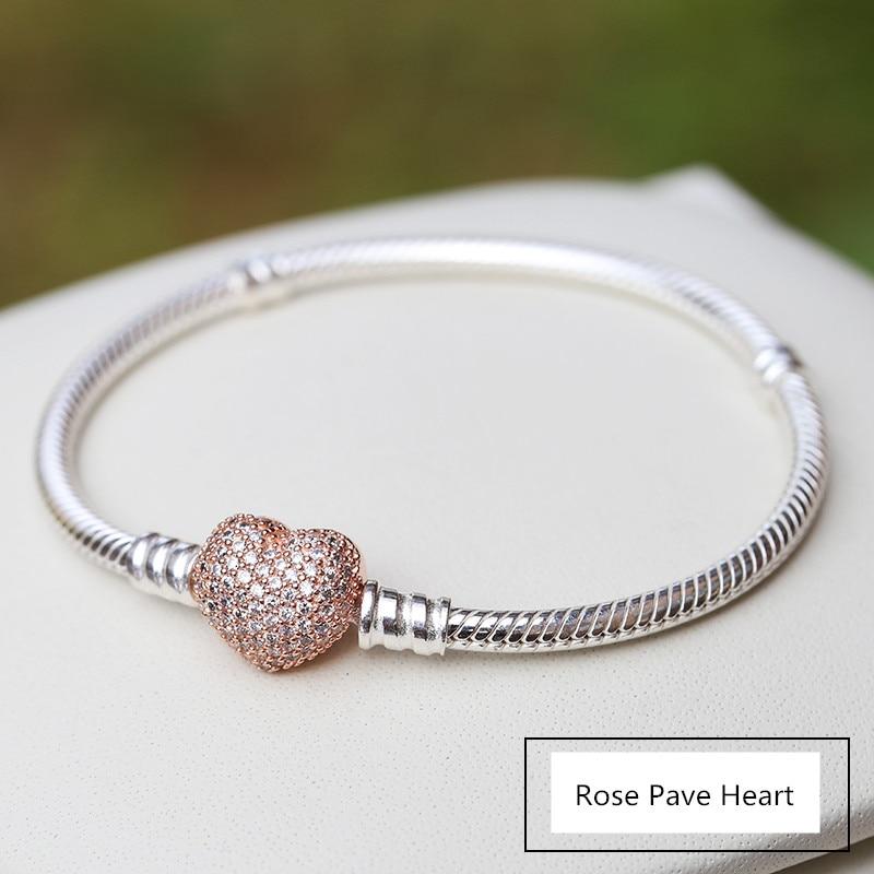 NEW! Perfect Charm Logo Engraving S925 Sterling Silver chains pandoras bracelets rose Pave Heart Clasp Bangle women,1pz