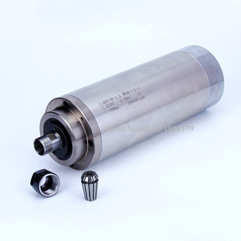 1.5KW carving machine cnc router spindle motor AC 220V ER16 80mm*213mm 24000rpm water cooling CNC spindle motor hj brand 1 5kw 80mm er11 cnc spindle 24000rpm machine spindle motor water colling engraving milling spindle 220v ac spindle