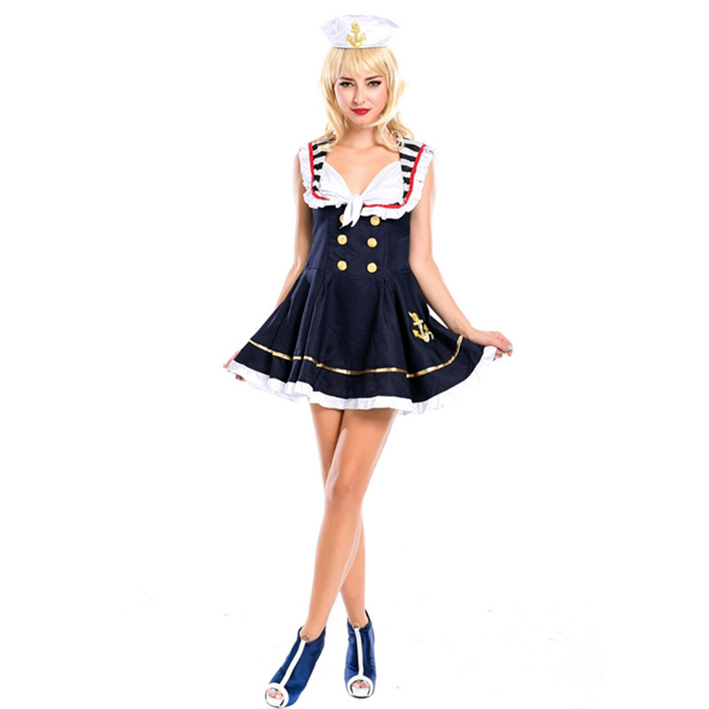 free shipping pin up sailor costume vintage fancy dress up halloween outfit 2017 women blue dress costumes - Pin Up Girl Halloween Costumes 2017