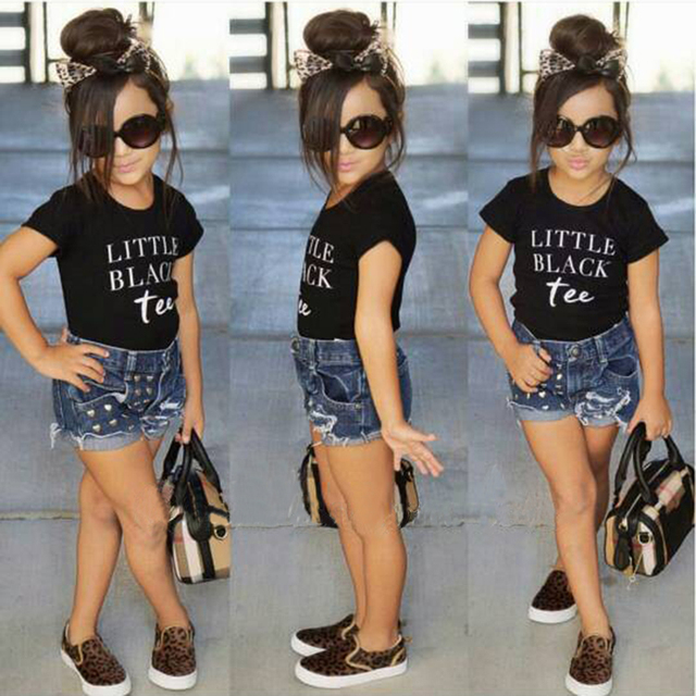 acbc11c10864f الفتيات ملابس الصيف 2018 الفتيات الملابس مجموعات الأطفال الملابس إلكتروني  الفتيات قصيرة الأكمام قمصان + السراويل
