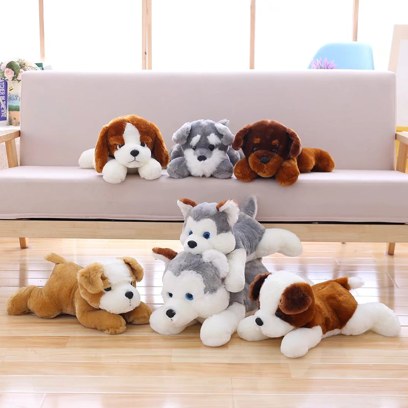 Simulation plush stuffed dog toy, lying down husky chisel bass Bernard plush doll, children's birthday Valentine's Day gift 75cm super cute plush toy dog lipstick dog pillow doll lying prone as gifts to friends and children with down cotton