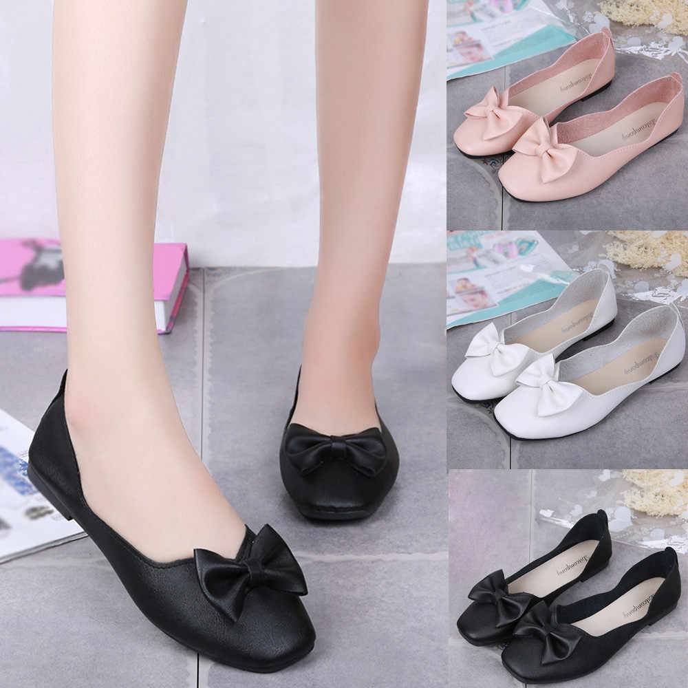 af8f22742f0d ladies shoes platform Women Shallow Bowknot Square Toe Buckle Low Heel  Pointed Single Shoes NFA