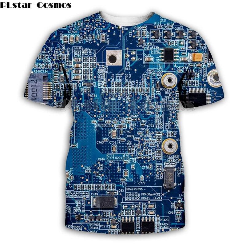 PLstar Cosmos Electronic chip Hip Hop tshirt Men/women 3d machine print t-shirts Summer short sleeve tee Top Harajuku Punk Style