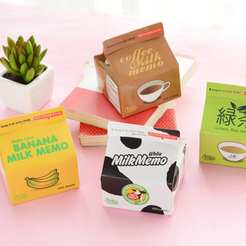 F07 Carton Design Memo Pads School Office Supply Plan Message Writing Sticky Notes Coffee Green Tea Milk Bottle DIY Craft kataoka matcha green tea milk 705oz