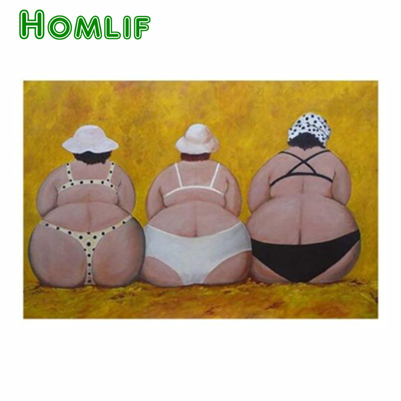 HOMLIF three <font><b>fat</b></font> <font><b>Sexy</b></font> lady 5d Diy Diamond Painting Kit Full round Drill Diamond Embroidery Painting Rhinestones Home Decoration image
