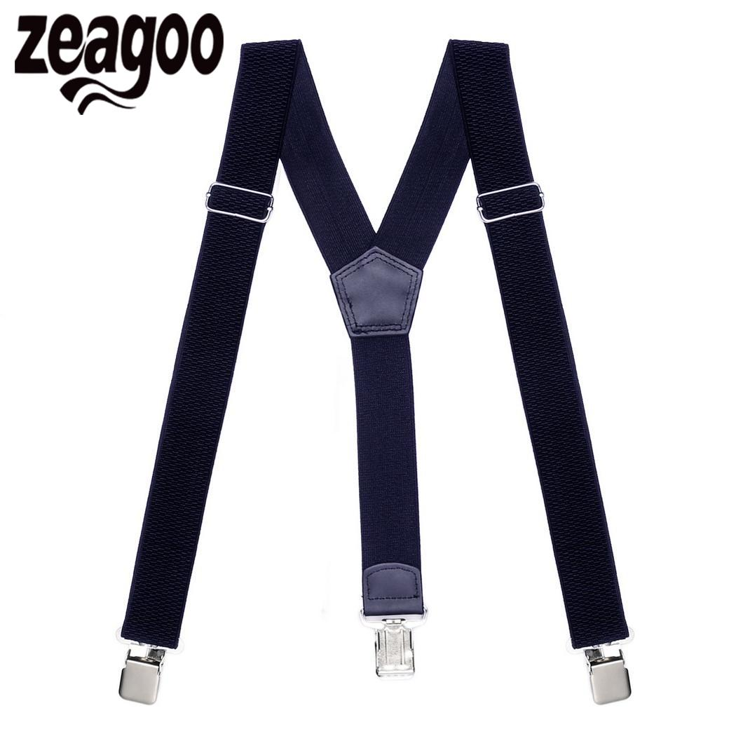 Men Stripe Y-shape Suspender With Non-slip 6 Clips Elastic Adjustable Pant Braces Men's Suspenders