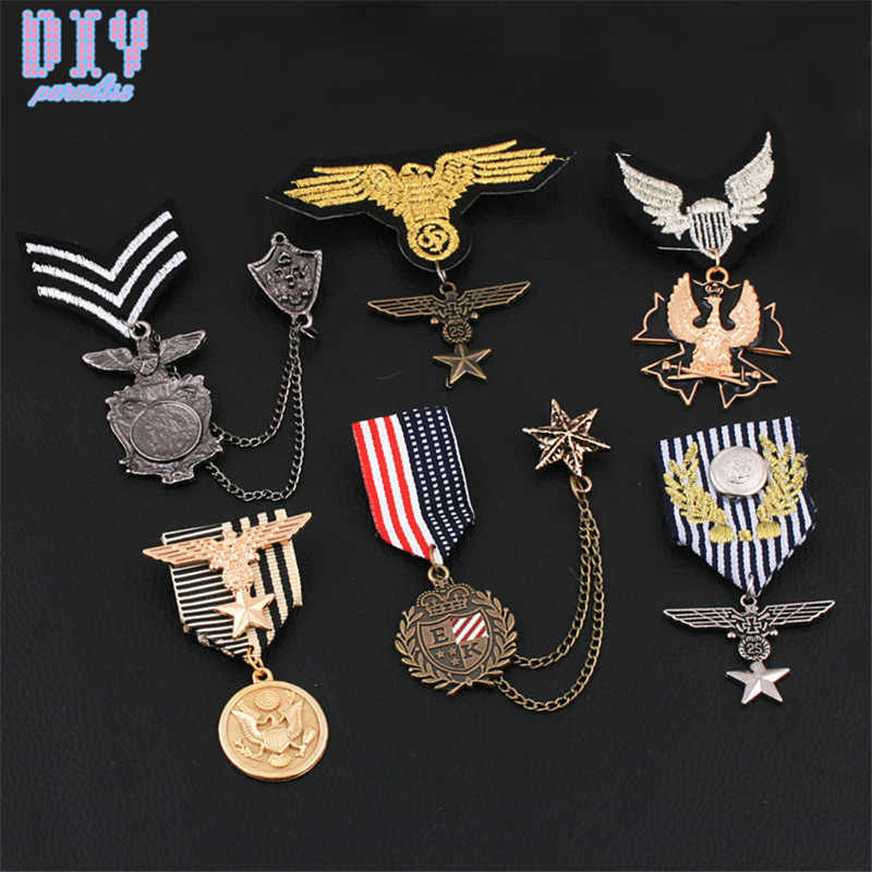 RU Five Star Eagle ม้าทหารป้ายโลหะ Retro ผ้าไหล่ BOARD ป้ายกองทัพพินเข็มกลัดเหรียญ Handmade