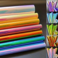 Радужная голографическая Радужная ткань из искусственной кожи лазерная ткань бант для волос DIY толщина материала 0,9 мм