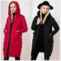 Moda europea 2016 Nueva chaqueta de Invierno Las Mujeres Chaqueta Larga Encapuchada del Espesamiento de Las Mujeres de Lujo de pato Caliente Abajo Abrigos parkas 583