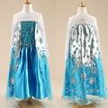 New 2016 Custom Anna Elsa Girls Princess Dress Kids Party Vestidos Baby Children Cosplay Dresses Wedding Pincess Party Dresses