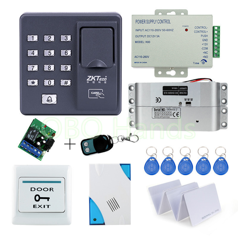 RFID reader Fingerprint Access Control system Electronic with  Drop Bolt Lock +remote control+power supply+exit button+door bell free shipping rfid access control system 8618a electronic bolt lock power supply key fobs door bell exit button remote control