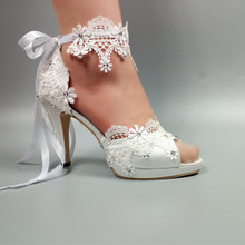 Womens wedding shoes 2020 New arrival Peep Toe white lace Up shoes Two piece Ladies party dress shoes woman 8cm High heel Pumps