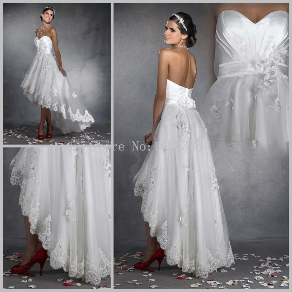 Sexy high low ankle length sweetheart tulle with lace for Lace ankle length wedding dress