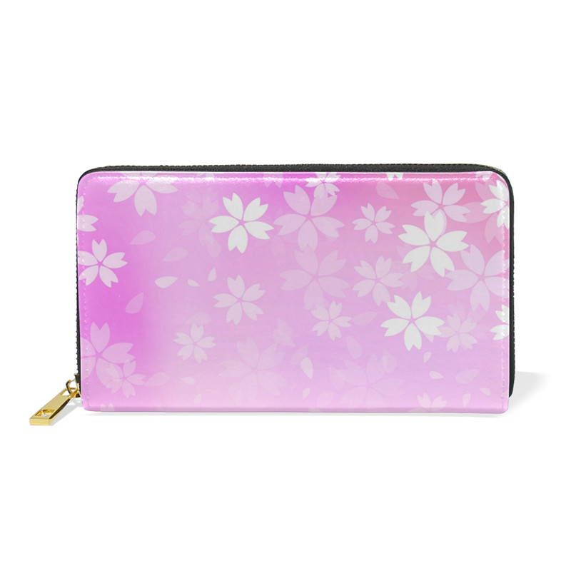 Pink Flowers Women Wallet Zipper Long Card Holder Large Female Genuine Leather Money Bag for Girls Coin Purse Gift 2018 New simple organizer wallet women long design thin purse female coin keeper card holder phone pocket money bag bolsas portefeuille