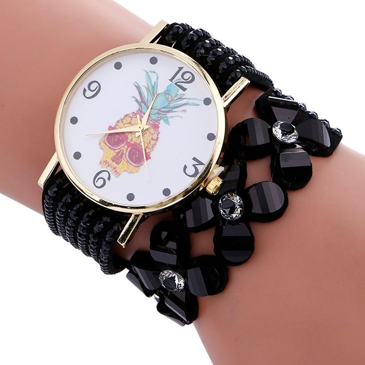 Fashion Casual Women's Quartz Wristwatch Triple Leather Bracelet Watch Lady's Dress Watch Pineapple watches 100pcs/lot | Fotoflaco.net