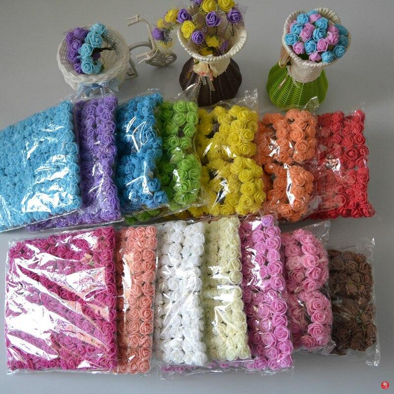 144pcs New Hot 2cm Head Multicolor Pe Foam Mini Flower Artificial