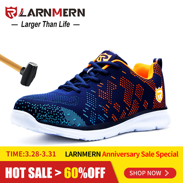c03c744ad4a9ca LARNMERN Lightweight Breathable Men Safety Shoes Steel Toe Work Shoes For  Men Anti-smashing Construction