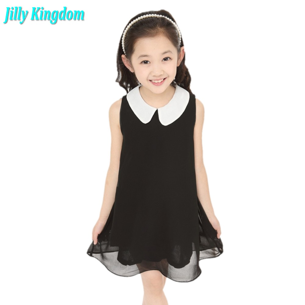 Free Shipping new 2014 Summer Girls Pleated Chiffon One-Piece Dress With Paillette Collar Children Colthes For Kids Baby 6colors girl