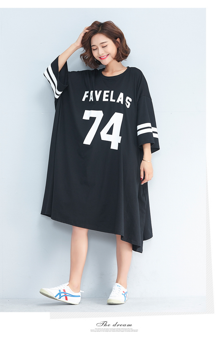 NBHUZEHUA 7G556 Women s Big Size T Shirt Dress Half Sleeve Plus Size ... 5220bc72f7d3