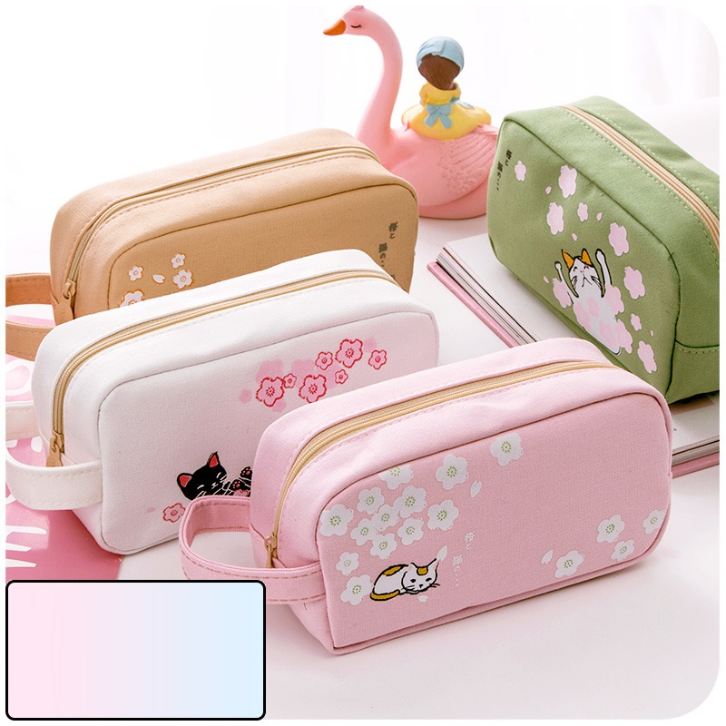 Sakura Cat Pencil Case Kawaii Candy Color Pencil Bag for School Girl Roll Bag Pencil Holder Pen Case Flowers Pen Organizer Pouch large capacity pencil case canvas 120 slots 4 layers school pencil bag art marker pen holder coloring pencils organizer