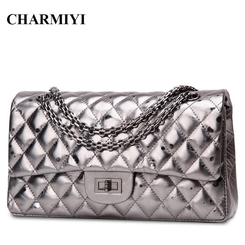ФОТО CHARMIYI Designer Genuine Leather Women Shoulder bag Vintage Cover Messenger Bag Ladies Chain Crossbody Bag Bolsas Femininas