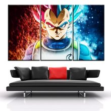 Home Wall Decorative Vegeta Poster Modern Canvas Print Type Style One Set 3 Panel Artwork Dragon Ball Super Animation Painting(China)