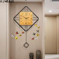 Large Vintage Wall Clocks 3D Metal & Wood Modern Design Wall Clock Living Room Simple Art Wall Clock