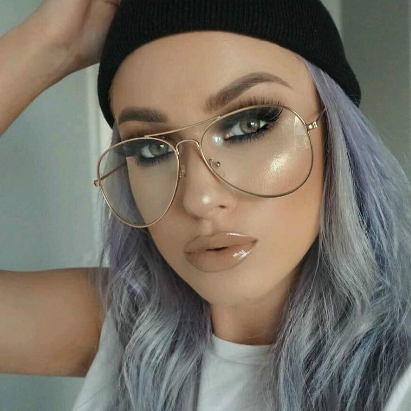 c05aeb2a594eb 2018 Fashion Eyewear Frames Brand Clear Sunglasses Women Pilot Optical Sun  Glasses Women Men Alloy Frame Glasses -in Eyewear Frames from Apparel  Accessories ...