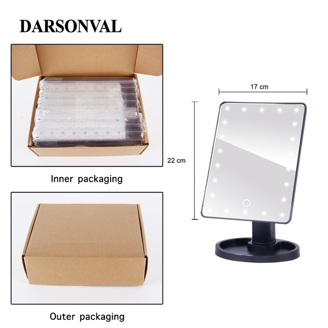 LED Professional Lighted Mirror With Light for makeup Adjustable Light 16/22 Touch Screen Table make-up led mirror Eyelash Brush 2