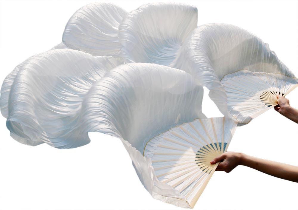 2018 новейшие Для женщин Китайский белый танец живота вентилятор вуали 1 пара (2 шт.) на продажу NMMV1007