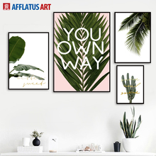 Natural Cactus Banana Coconut Palm Leaves Wall Art Canvas Painting Nordic Posters And Prints Wall Pictures For Living Room Decor
