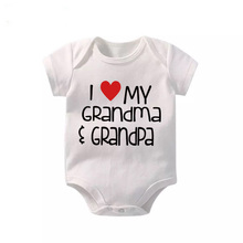 Culbutomind Summer White Short Sleeve I Love My Grandpa Grandma Print Baby Boy Girl Romper 2017 Body Suit Jumpsuits Playsui