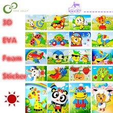 10 дизайнов/Лот DIY мультфильм животных 3D EVA пены наклейки головоломки серии E Развивающие Игрушки для раннего обучения для детей WYQ