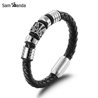Freemason Masonic Bracelets Men Jewelry Handmade Vintage Mens Leather Bracelet 2016 Stainless Steel Magnetic Clasp Gift