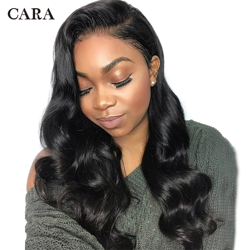 13x6 Lace Front Human Hair Wigs Pre Plucked For Woman Natural Black Brazilian Body Wave Wig Virgin Hair Wigs 150% CARA Lace Wig