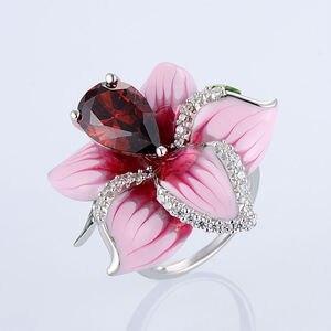 Image 4 - SANTUZZA Silver Flower Ring For Women 925 Sterling Silver Fashion Rings for Women Cubic Zirconia Ringen Party Jewelry Enamel