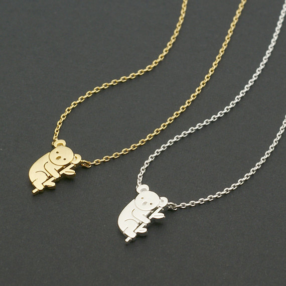 Daisies 1pc Gold Silver <font><b>Koala</b></font> Necklace Australian <font><b>Koala</b></font> <font><b>Bear</b></font> Woodland Necklaces Pendants Animal For Women <font><b>Jewelry</b></font> collier femme image