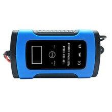 12 V 6A Мощность автомобиля Батарея Зарядное устройство полностью автоматический для свинцово-кислотная Батарея зарядки Авто Мото ЖК-дисплей Дисплей 110 v 220 v