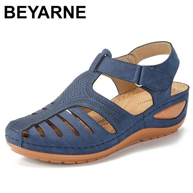 BEYARNESummer kobiety panie dziewczyny wygodne wypoczynek kostki HollowRoundToe sandały miękkie podeszwy buty sandalias de verano para mujer