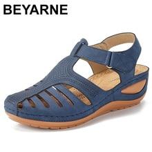 Beyarnesummer女性レディースガールズ快適なレジャー足首hollowroundtoeサンダルソフト唯一の靴sandaliasデveranoにパラmujer