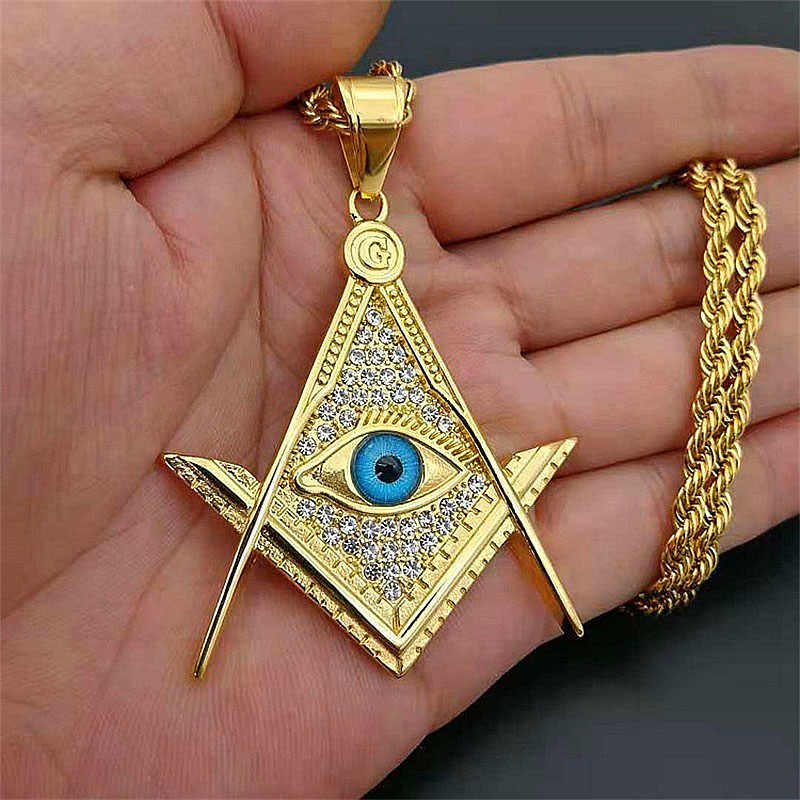 Hip Hop CZ Zircon Paved Pendant Gold Color Stainless Steel Illuminati Eye Freemason Masonic Pendants Necklaces for Men Jewelry
