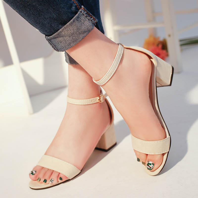 Summer Sandals Fish Mouth Women Sandals Suede T tied High Heels Square Heel Woman Buckle Shoes size 35-42 sexemara extreme high heel sandals fish mouth women sandals 2017 new large size 33 43 summer fashion sexy buckle ladies sandals