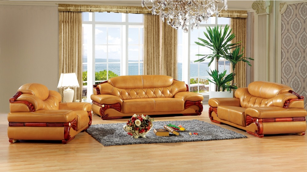 antique European leather sofa set living room sofa made in China