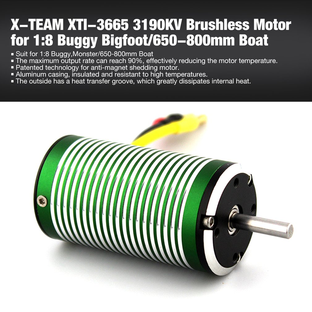5 milímetros XTI-3665 3190 3580 3190 2680 2300 KV Brushless Sensorless Motor para 1:8 RC Off-road Buggy Car bigfoot/650-800mm Navio Barco