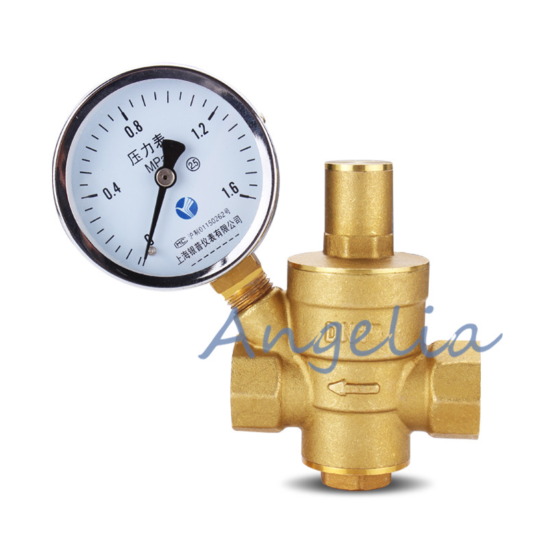 1 2 BSP DN15 Brass Adjustable Water Pressure Regulator Pressure Reducing Maintaining Valve With Gauge Flow