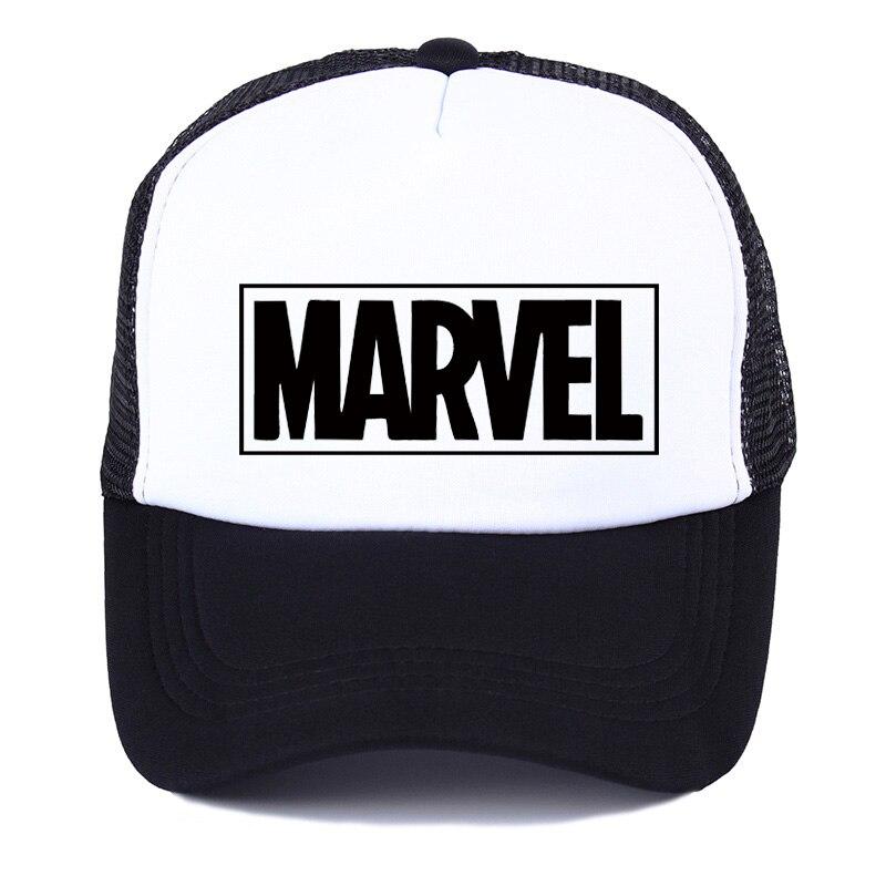 MARVEL Comics letter youth   Baseball     Caps   Summer Leisure Adjustable Hats Mesh trucker hat Fashion men women Mesh   cap   Visor