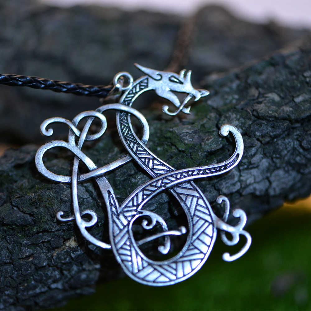 1 Pcs Langhong Nordic Viking Kalung Skandinavia Naga Amulet Liontin Kalung Nordik Perhiasan Jimat