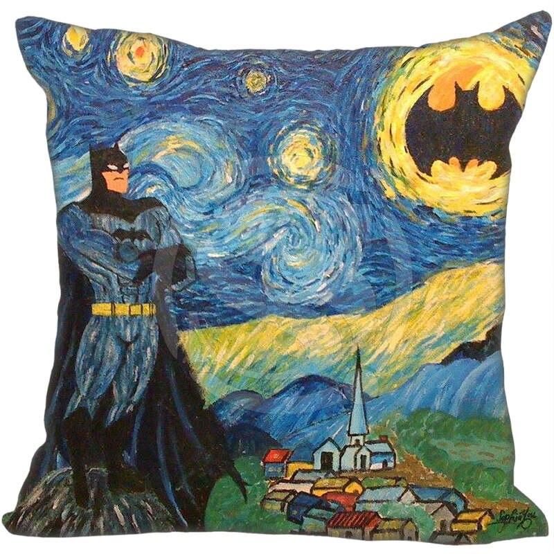 Лидер продаж пользовательские Ван Гог живопись Бэтмен Подушки Детские случае 35x35 см (один сторон) дома Чехлы для подушек Наволочки 9-22 т ...